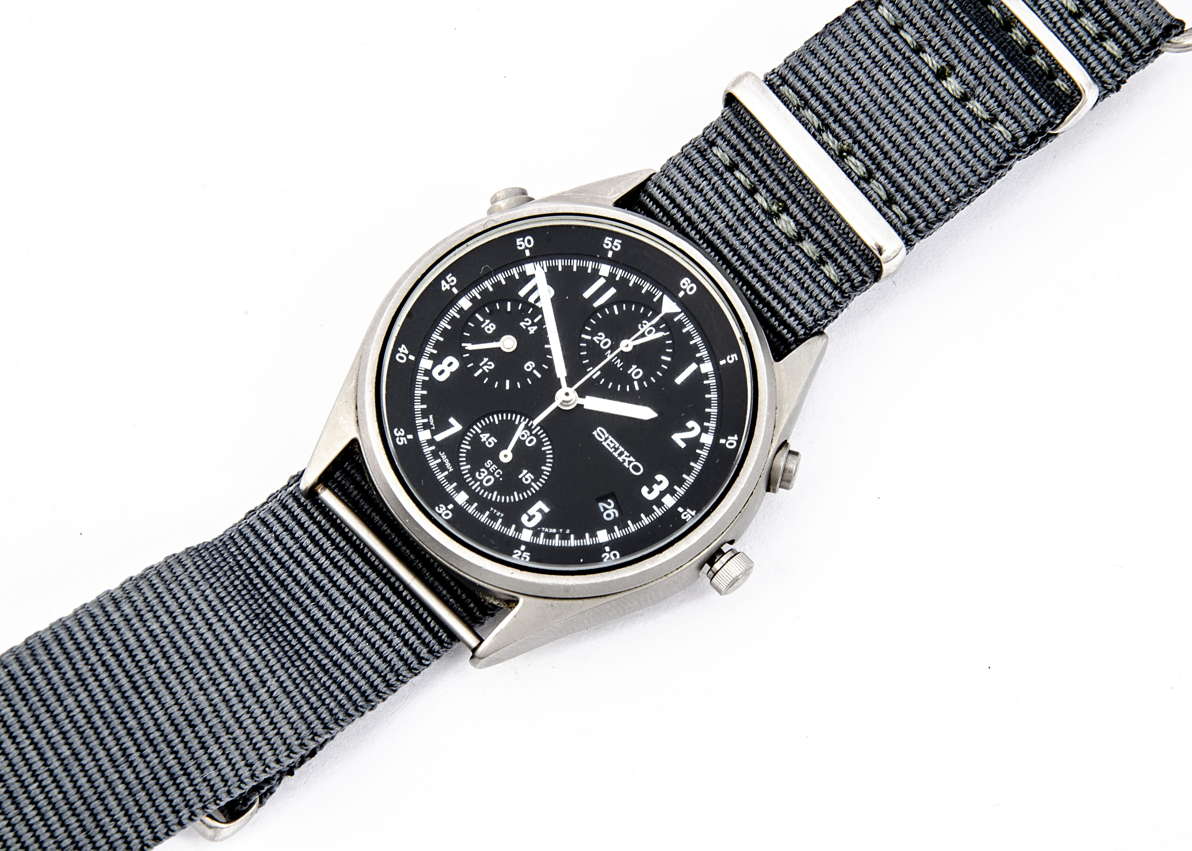 A modern Seiko Quartz Military Royal Navy stainless steel wristwatch, 37mm case, running, generation