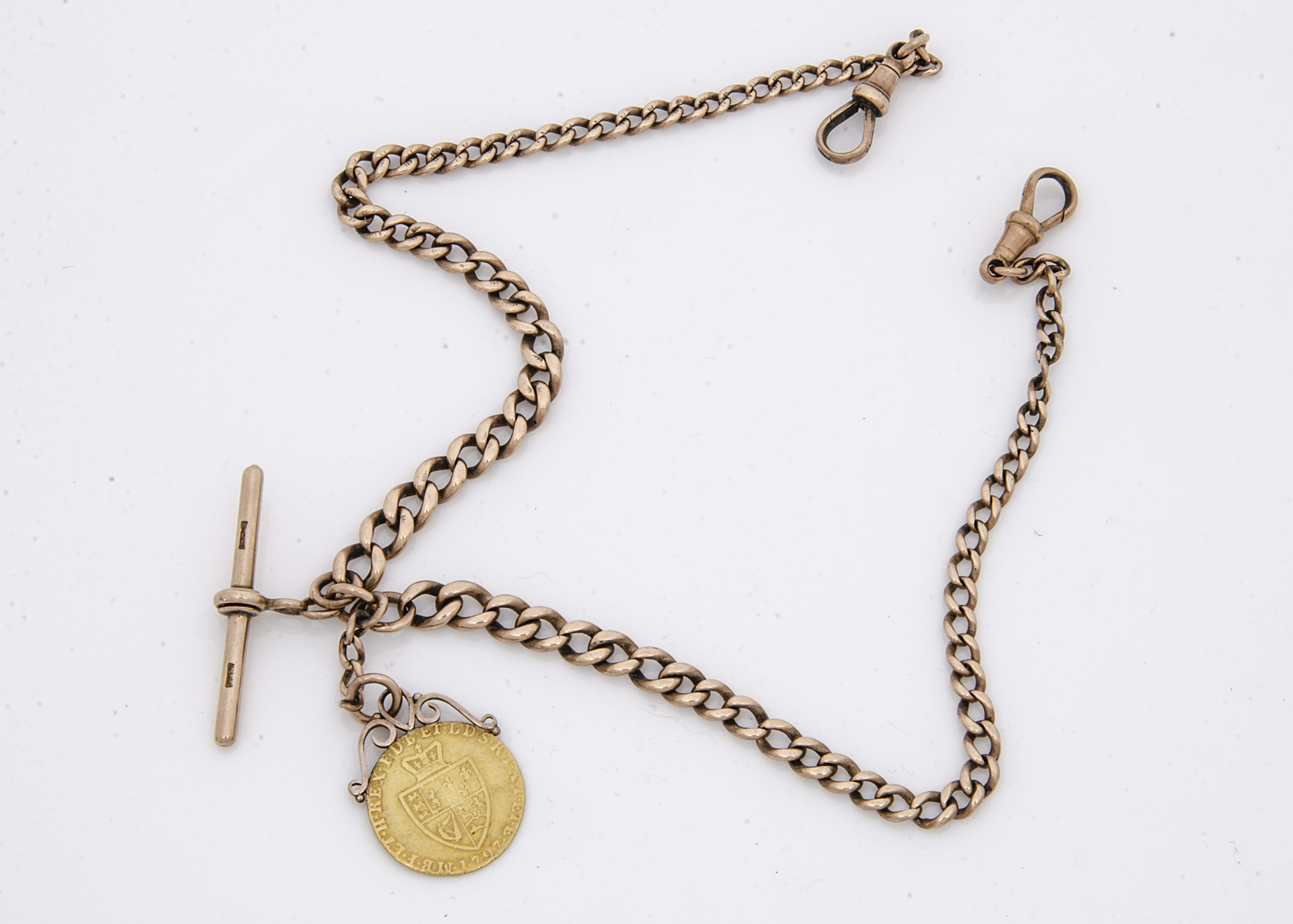A late Victorian or Edwardian 9ct gold curb link double Albert pocket watch chain, hallmarked, and