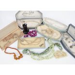A collection of costume jewellery, including simulated pearls boxed and other items