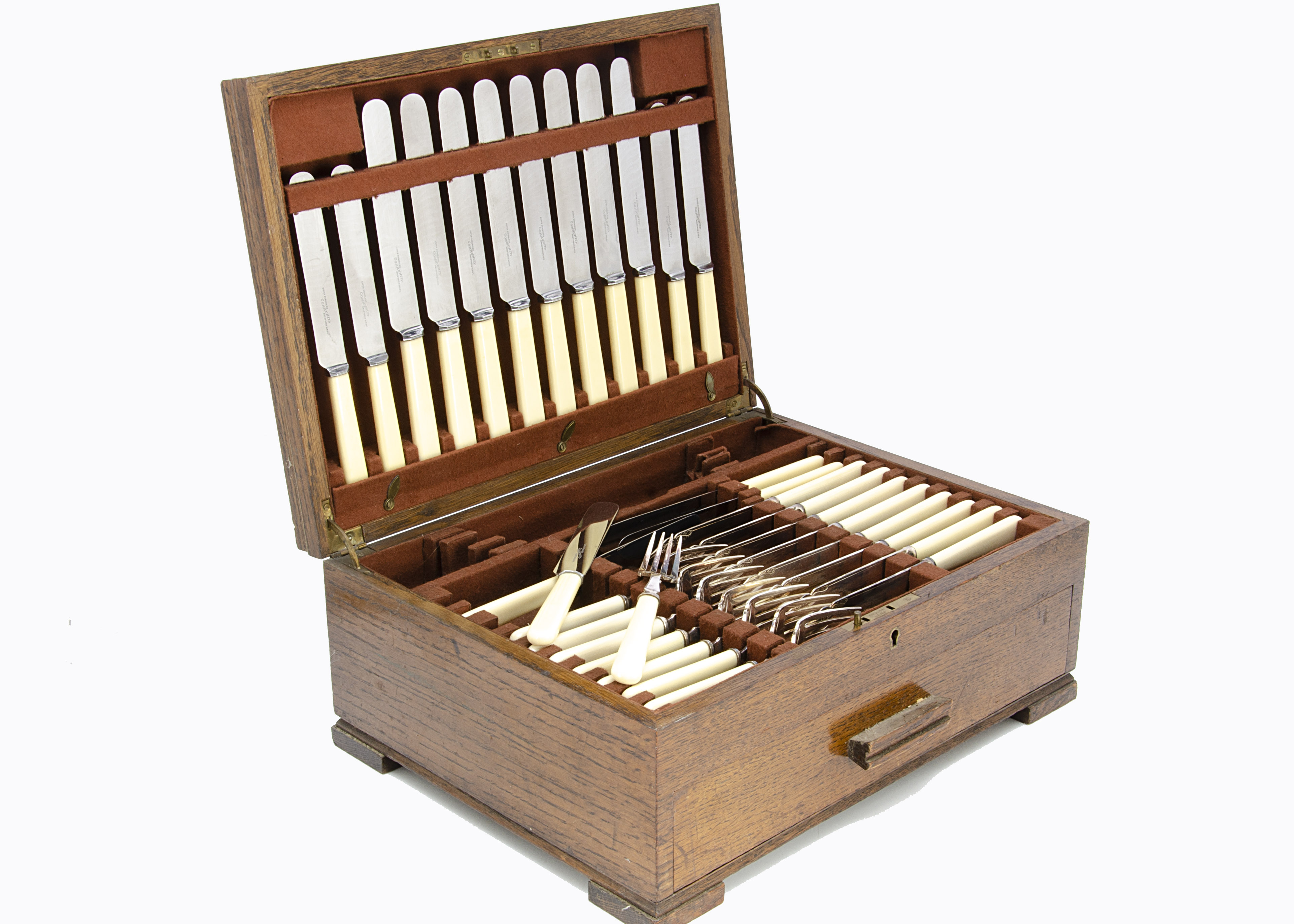 An Art Deco canteen of silver plated cutlery, in oak box