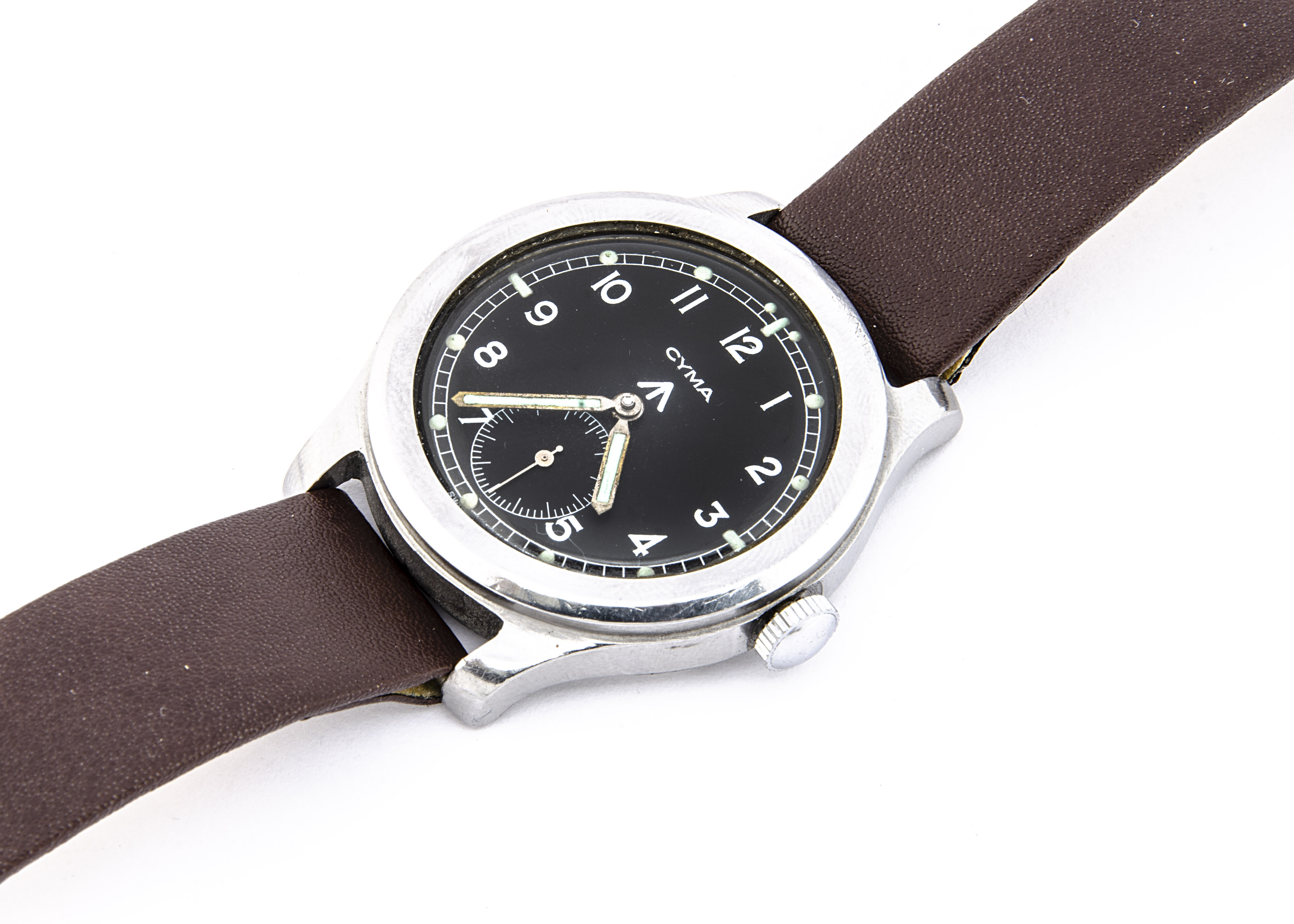 """A c1940s Cyma WWW Military """"Dirty Dozen"""" stainless steel wristwatch, 37mm case, running, black - Image 6 of 7"""