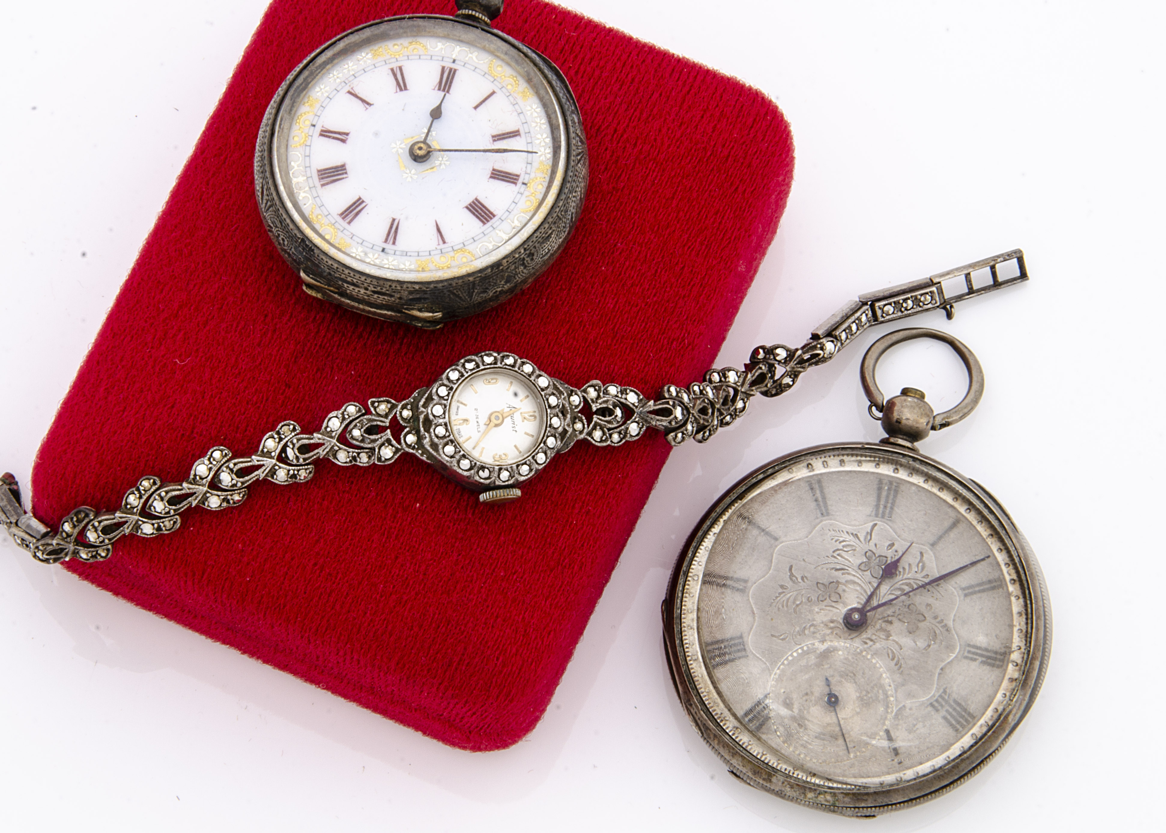 Three silver watches, including two Victorian period open faced pocket watches, AF, and a c1970s