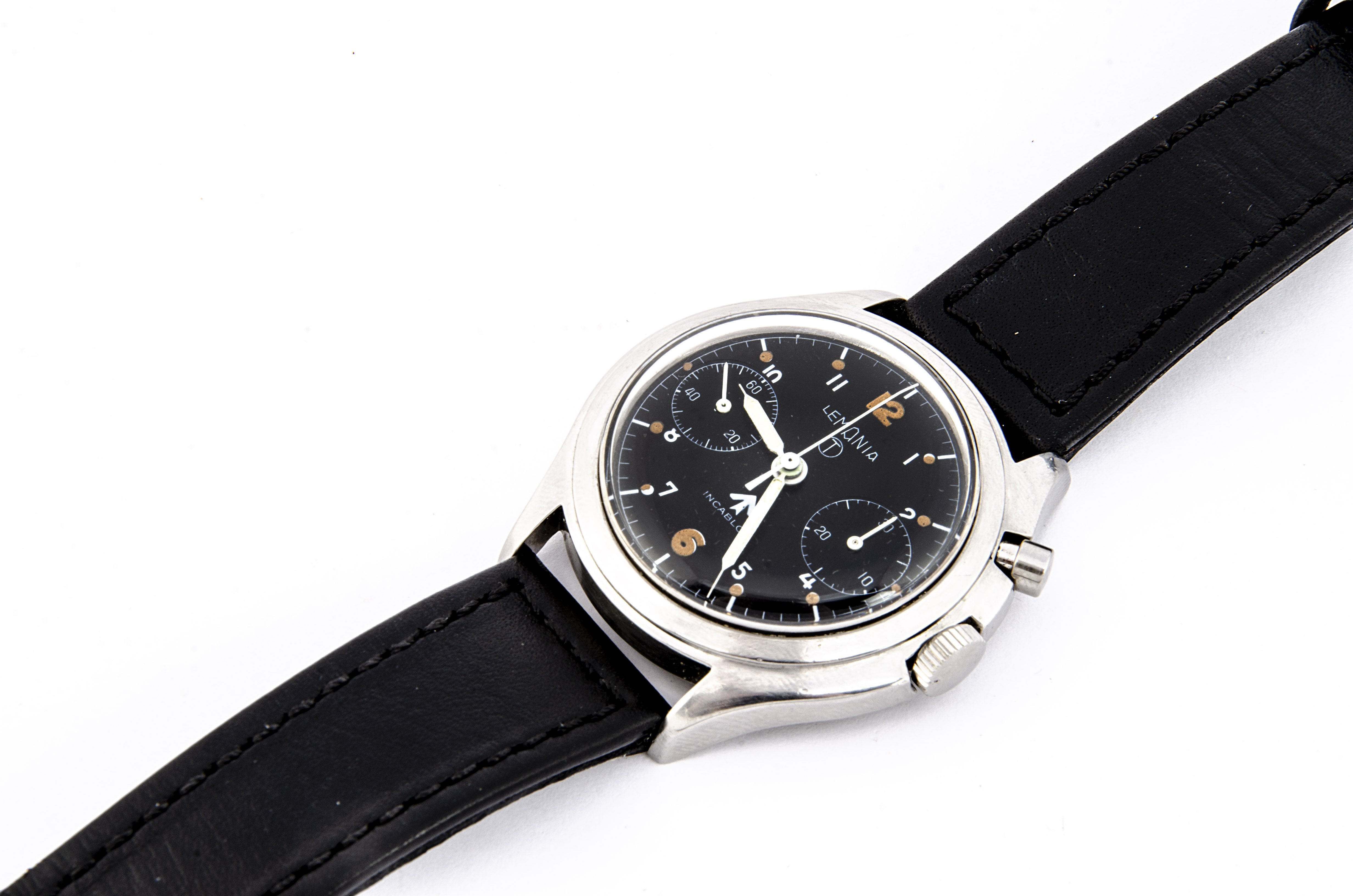 A c1960s Lemania RN / FAA single push chronograph stainless steel wristwatch, 39mm case, running and