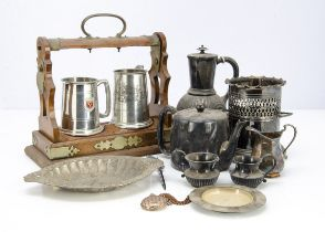 A collection of silver and silver plated and other items, including a Victorian silver pair of sugar