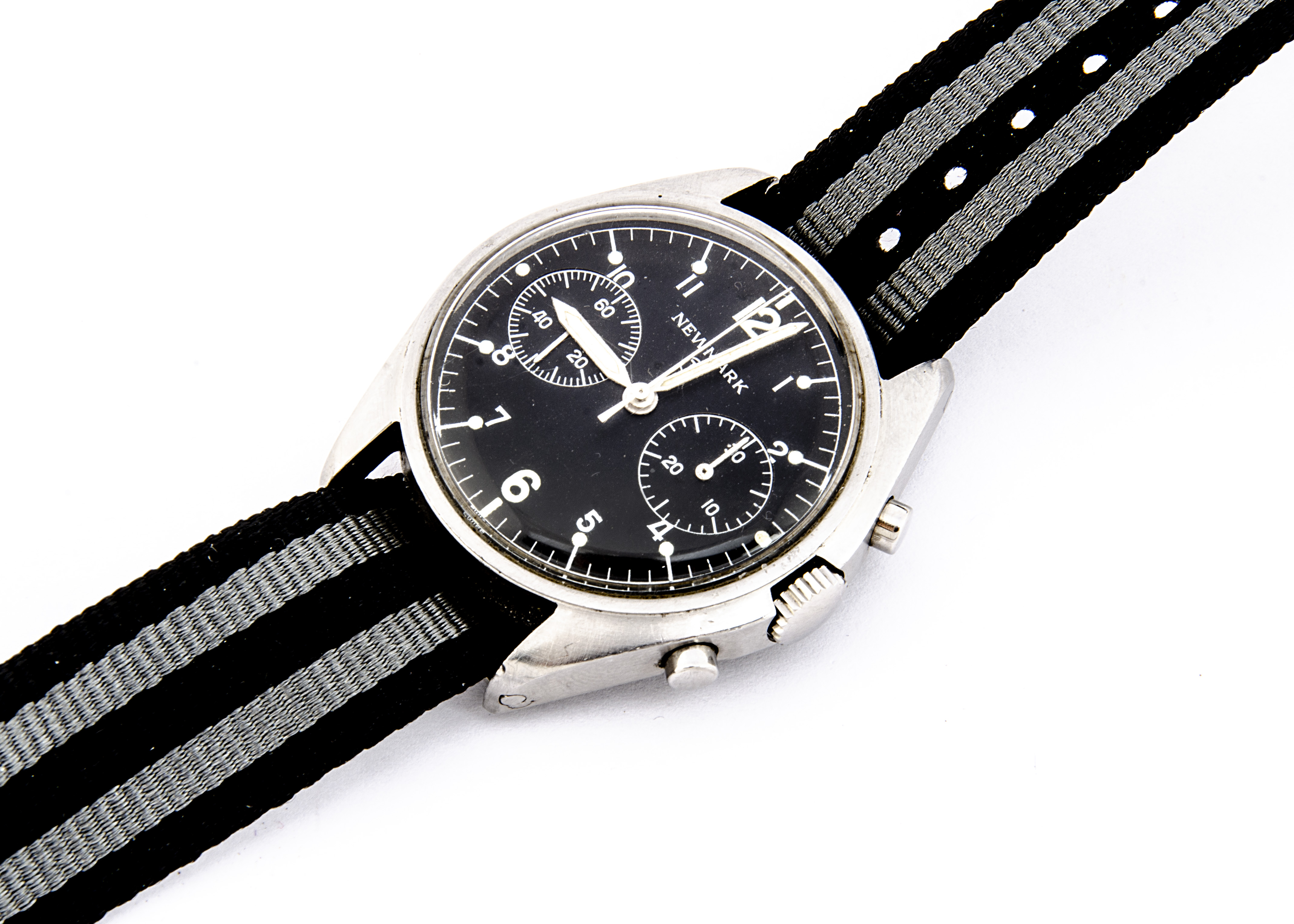 A c1980 Newmark two button chronograph Royal Air Force stainless steel wristwatch, 38mm case,