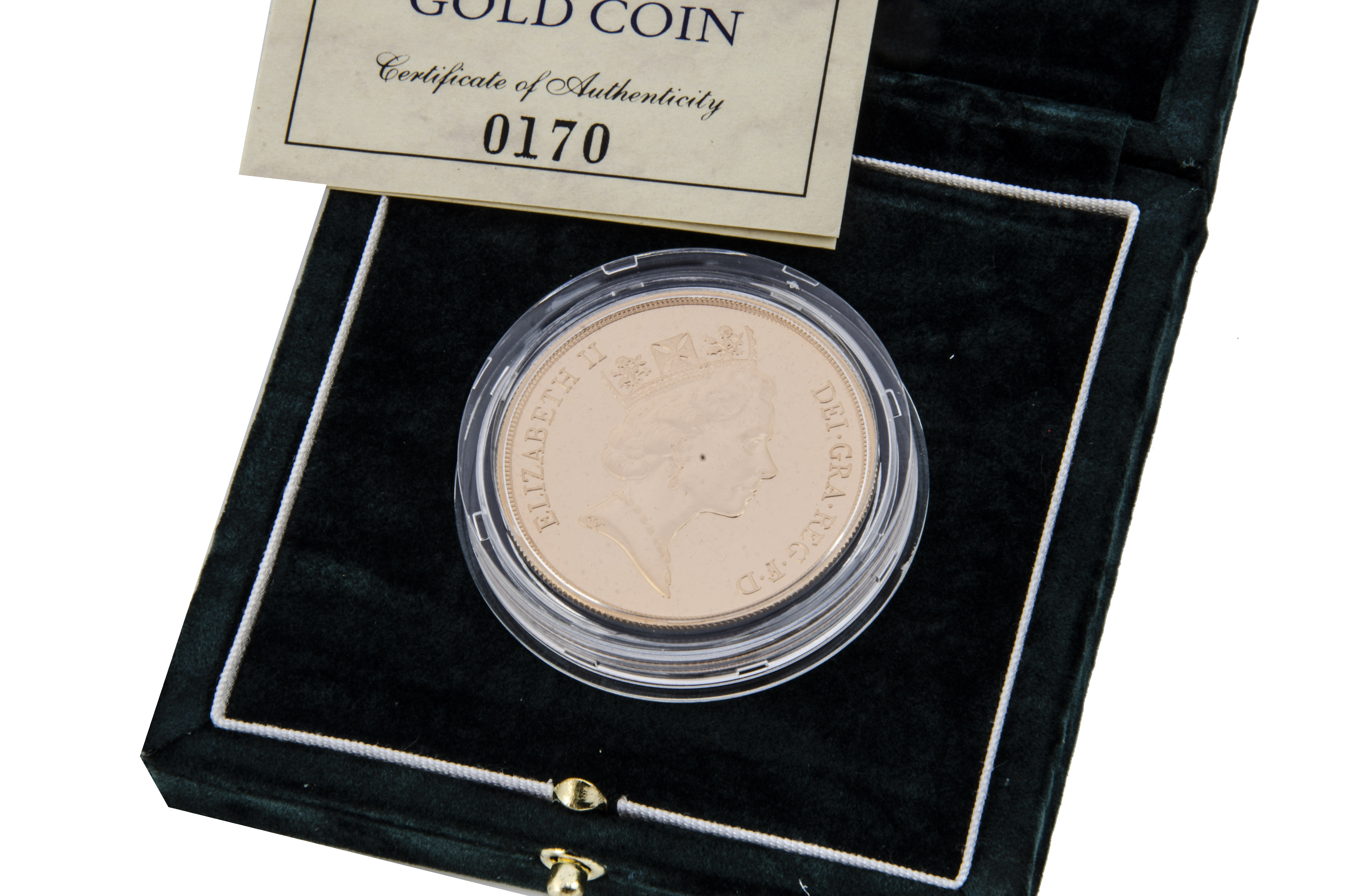 A modern Royal Mint UK £5 Brilliant Uncirculated Gold Coin, 1992, in box with certificate, 39.94 - Image 2 of 2