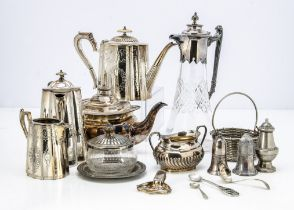 A collection of silver plate, including a cut glass claret jug, four piece tea set, a teapot, butter