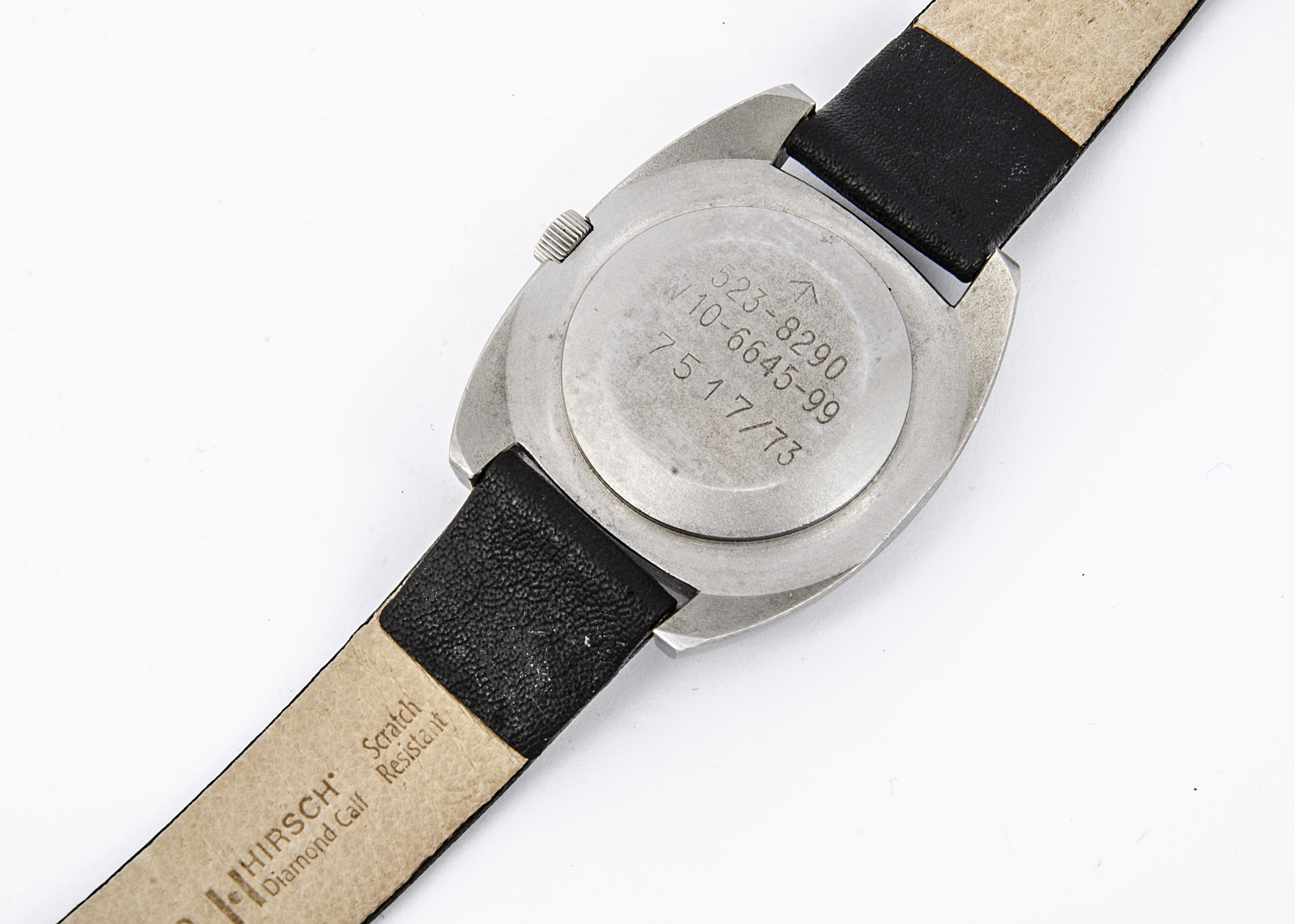 A 1970s Hamilton W-10 Military Army stainless steel wristwatch, 35mm tonneau case, running, black