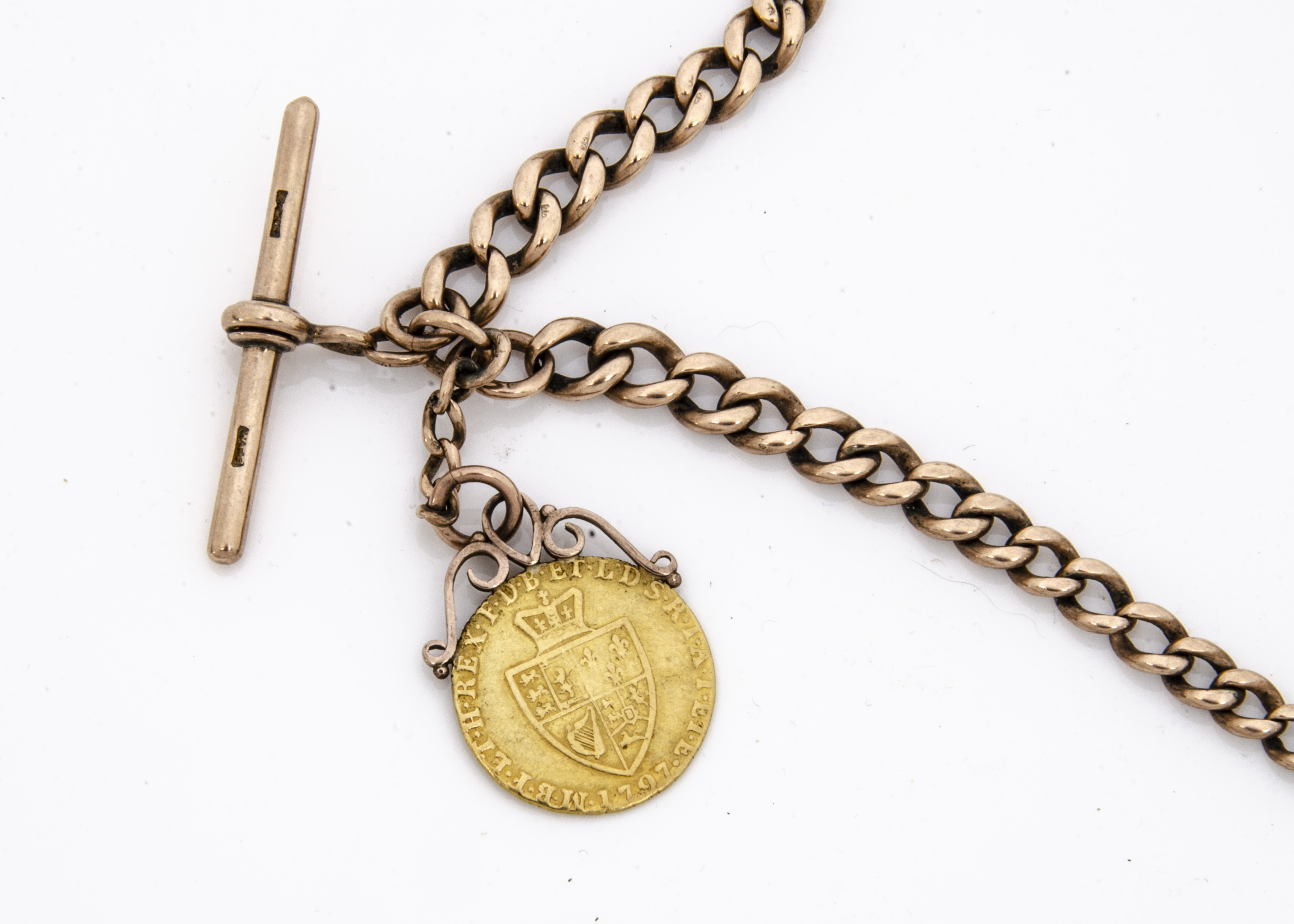 A late Victorian or Edwardian 9ct gold curb link double Albert pocket watch chain, hallmarked, and - Image 2 of 2