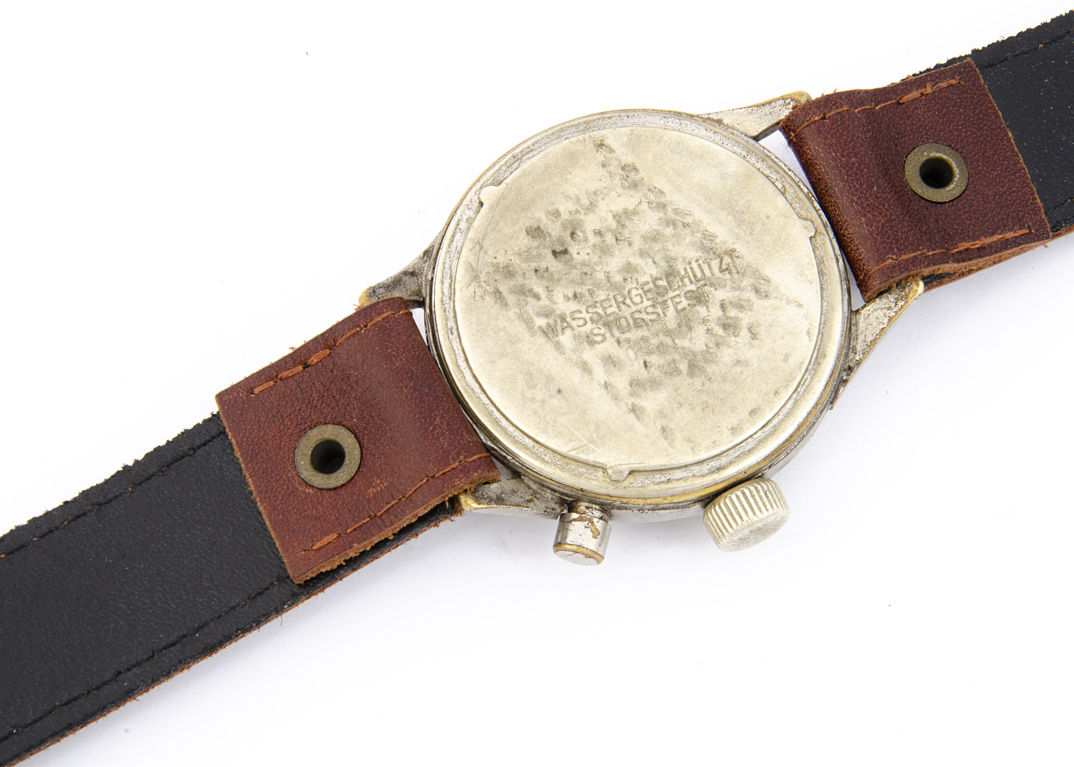 A WWII period Hanhart German Luftwaffe chronograph wristwatch, 40mm plated nickel case, running, - Image 6 of 6