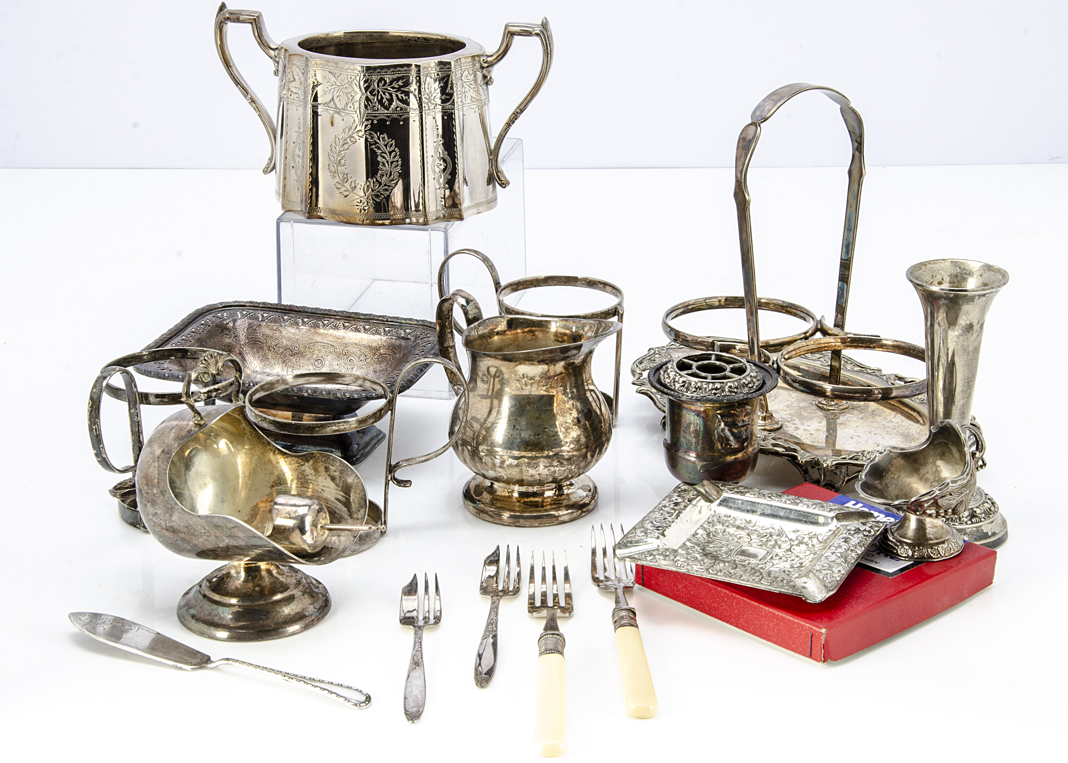 A collection of silver plate, including a cut glass claret jug, four piece tea set, a teapot, butter - Image 2 of 3