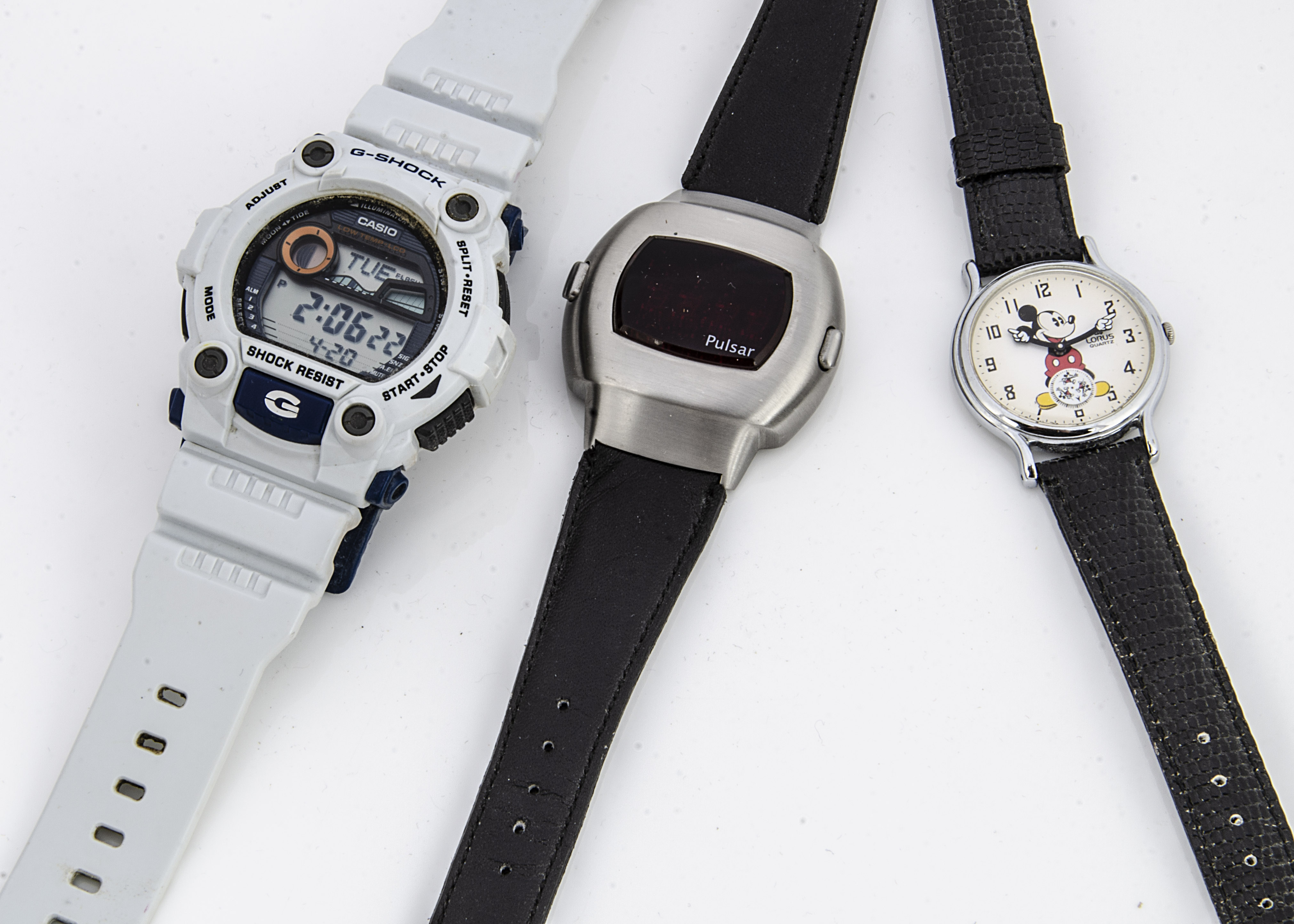 Three collectable wristwatches, including a Lorus Mickey Mouse quartz example in box, a Casio G-
