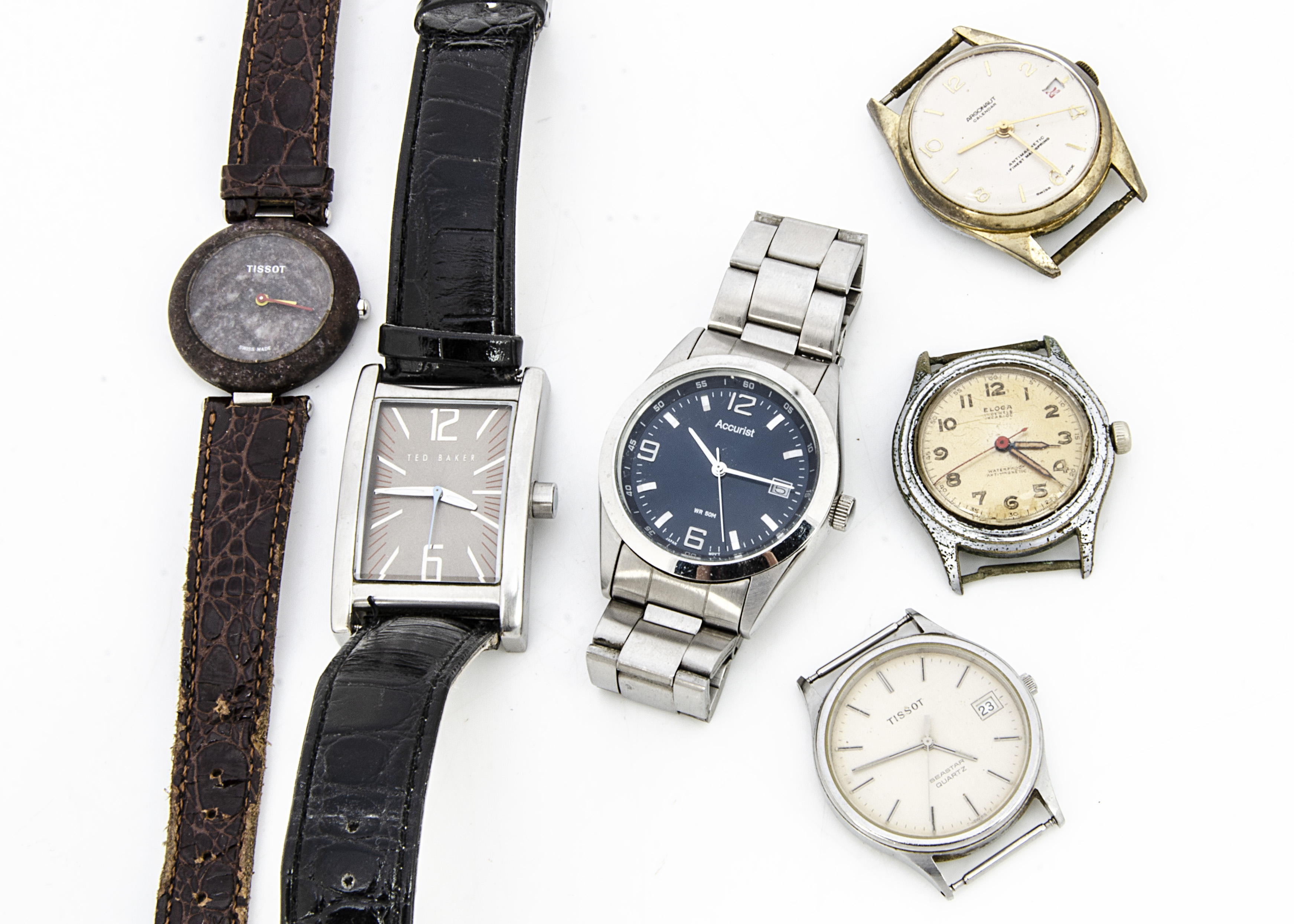 Six wristwatches, an Eloga manual wind, an Argonaut, two Tissot's, an Accurist and a Ted Baker