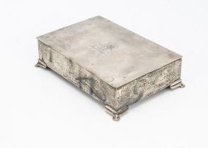 A 1960s silver presentation cigarette box from Alexander Clark & Co, rectangular on bracket style