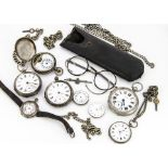 Four damaged Victorian and later silver pocket watches, together with a 9ct gold watch back and