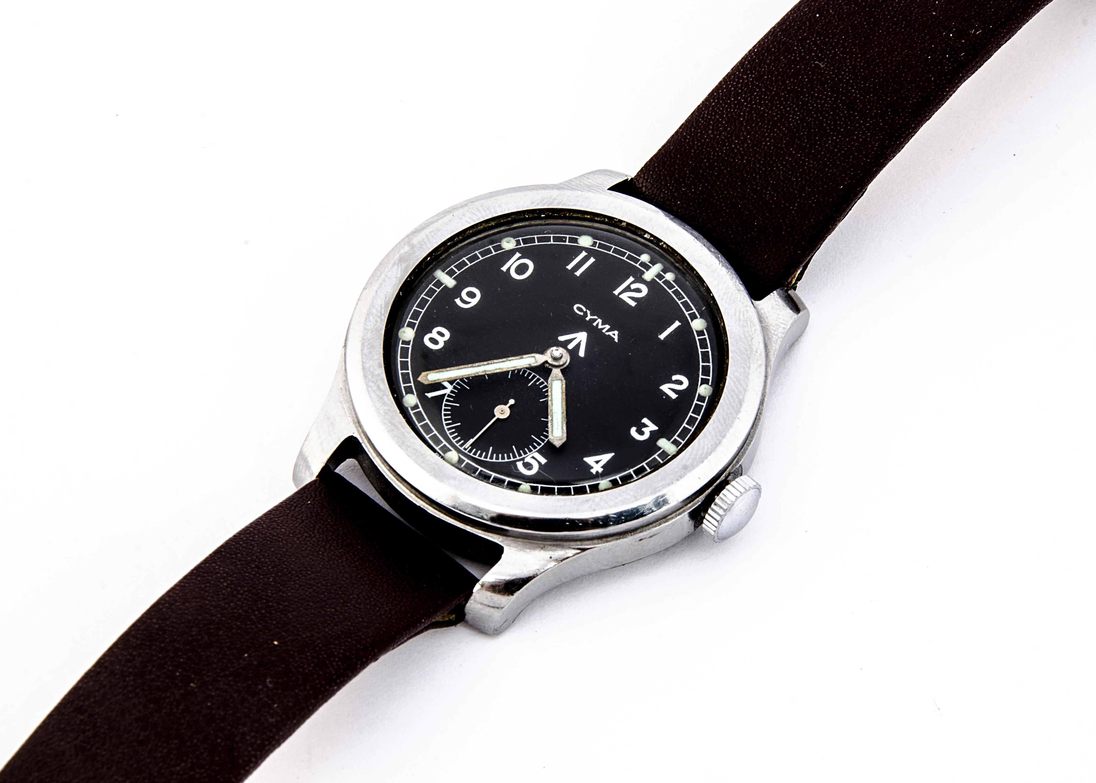 "A c1940s Cyma WWW Military ""Dirty Dozen"" stainless steel wristwatch, 37mm case, running, black"