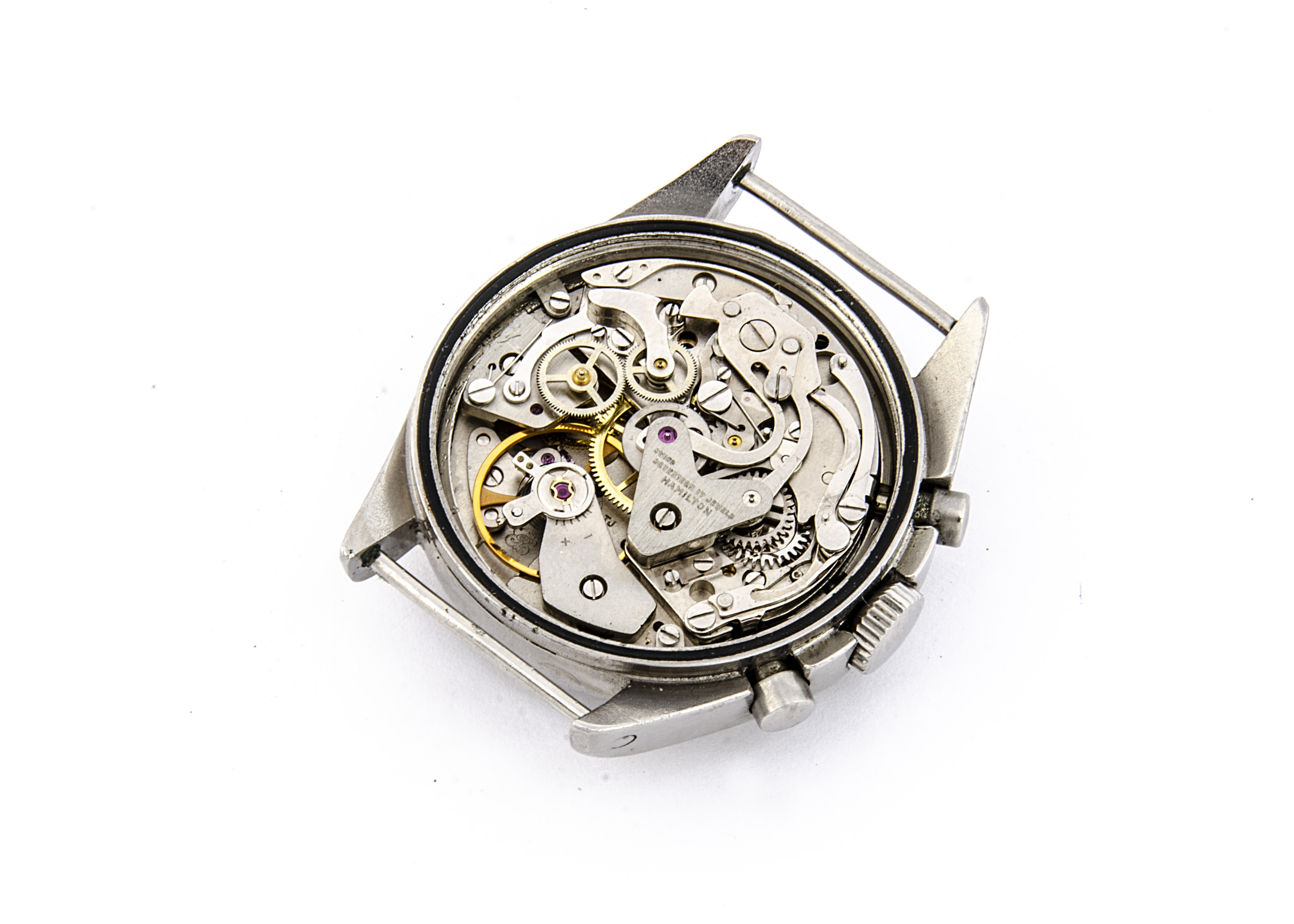 A 1970s Hamilton two button chronograph Royal Air Force stainless steel wristwatch, 39mm case, - Image 2 of 4