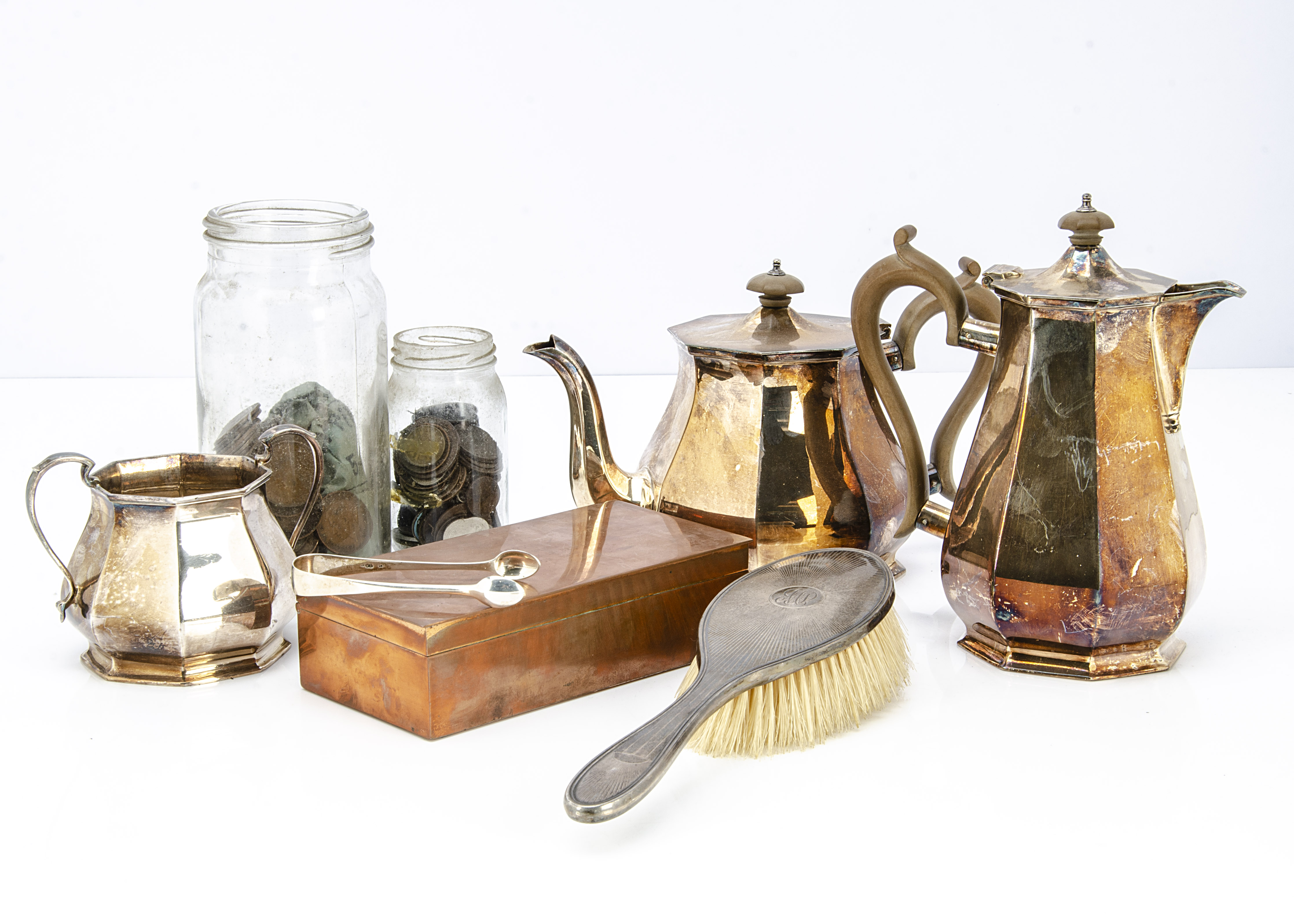 A collection of silver and silver plated and other items, including a Victorian silver pair of sugar - Image 2 of 3