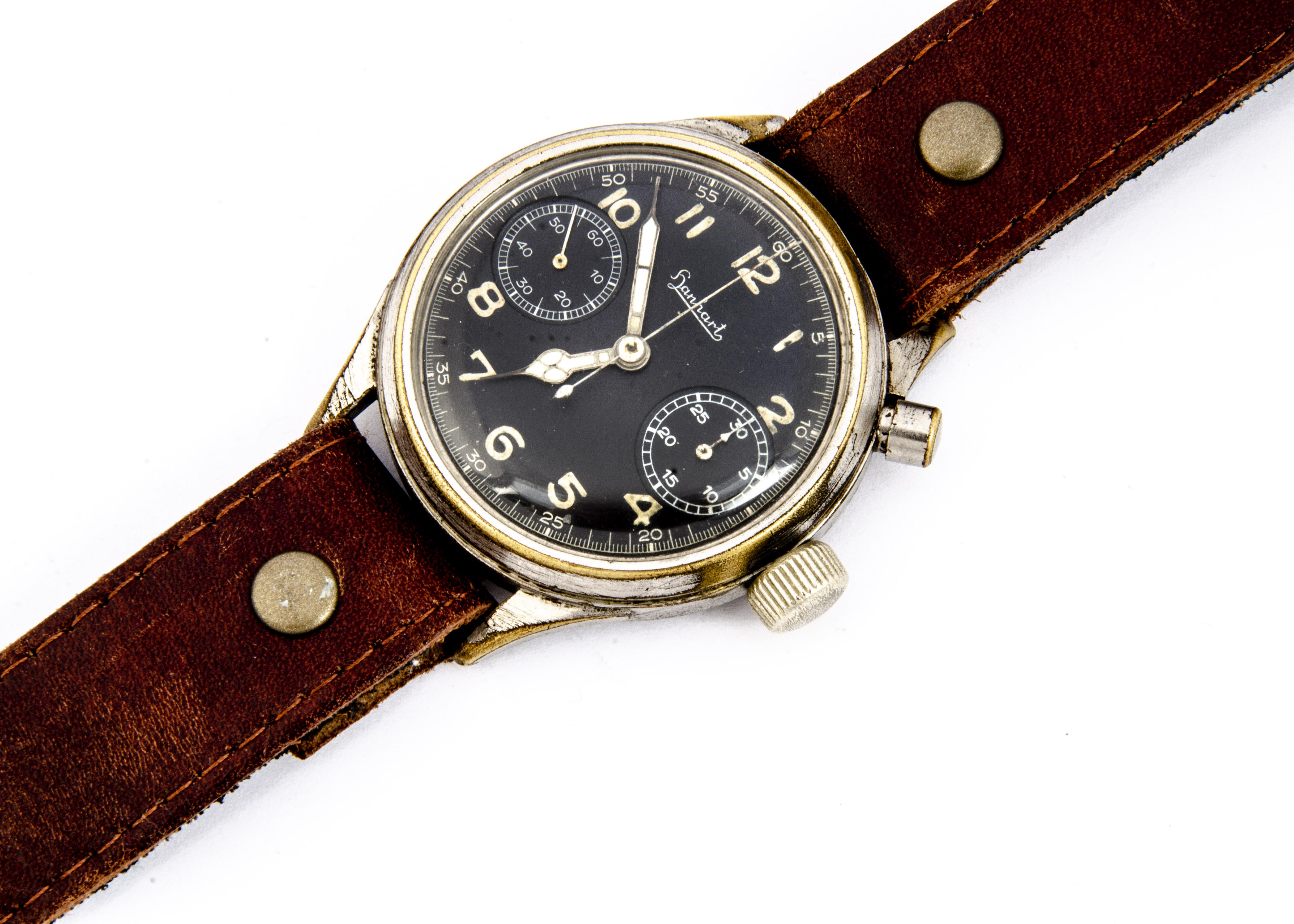 A WWII period Hanhart German Luftwaffe chronograph wristwatch, 40mm plated nickel case, running,