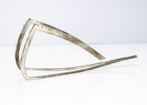 An unknown modern silver item by DC, wishbone shaped with curved supports and raised back struts,