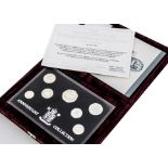 A Royal Mint 1996 UK Silver Anniversary Collection set, the seven silver set in plastic case and