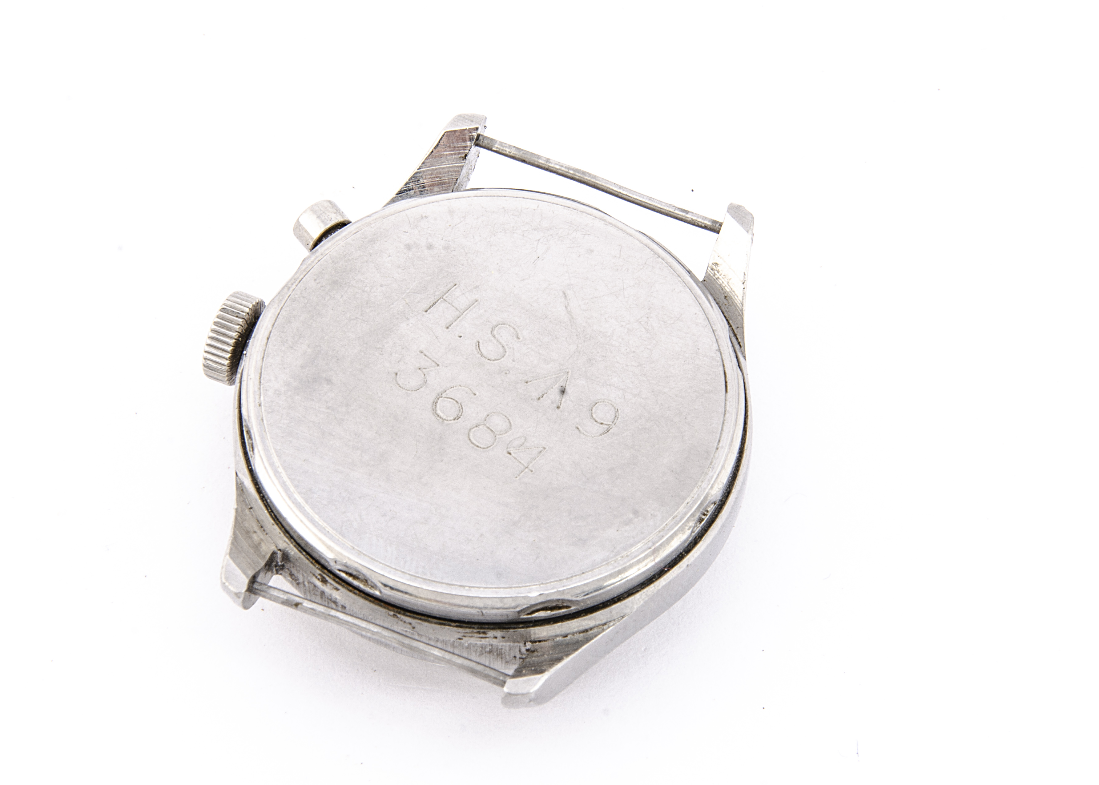 A c1950/60s Lemania Royal Navy / FAA single button chronograph stainless steel wristwatch, 37mm - Image 4 of 4