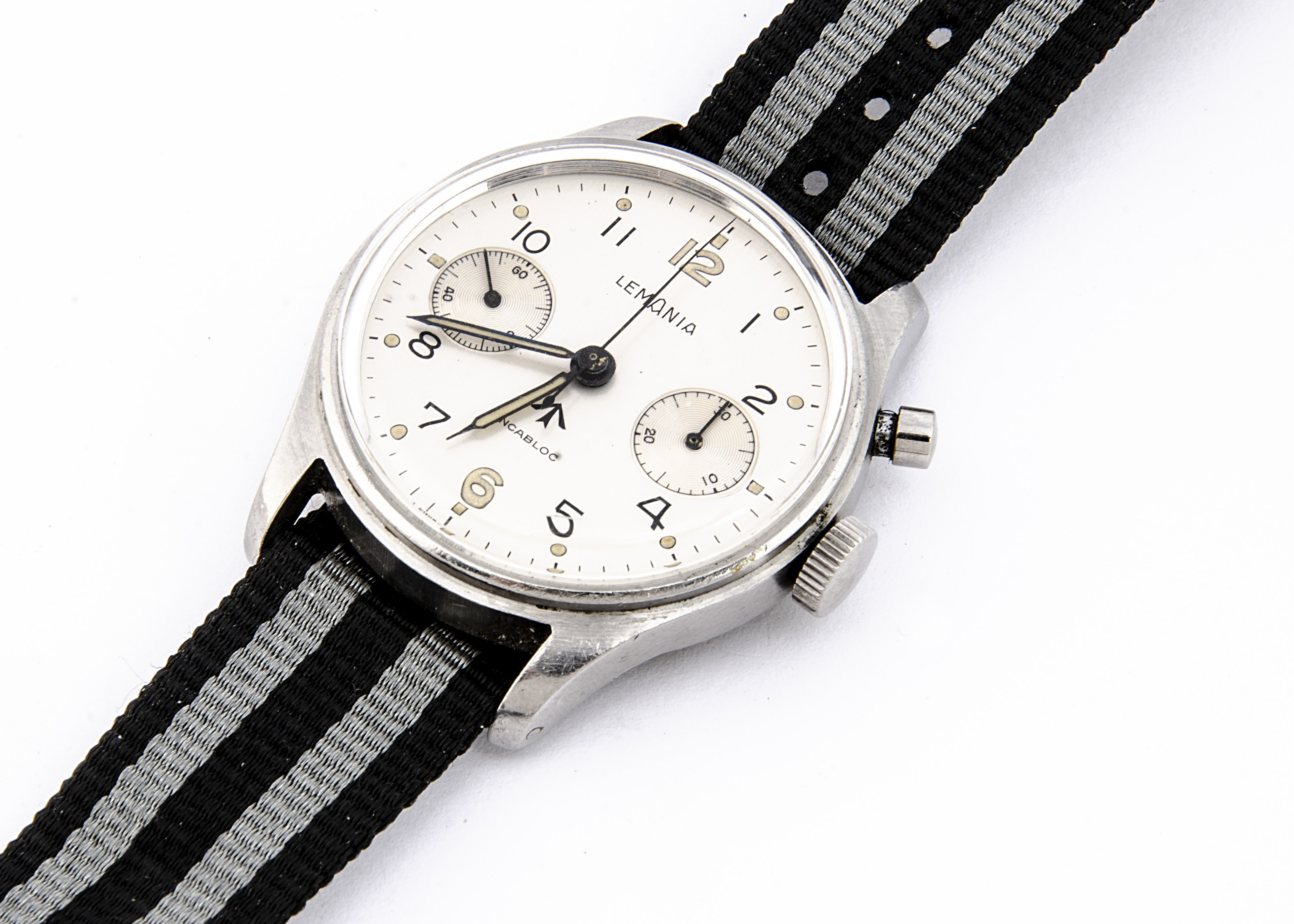 A c1950/60s Lemania Royal Navy / FAA single button chronograph stainless steel wristwatch, 37mm