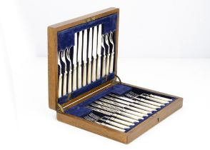 A collection of silver and silver plate, including a cased set of 12 mother of pearl and plated