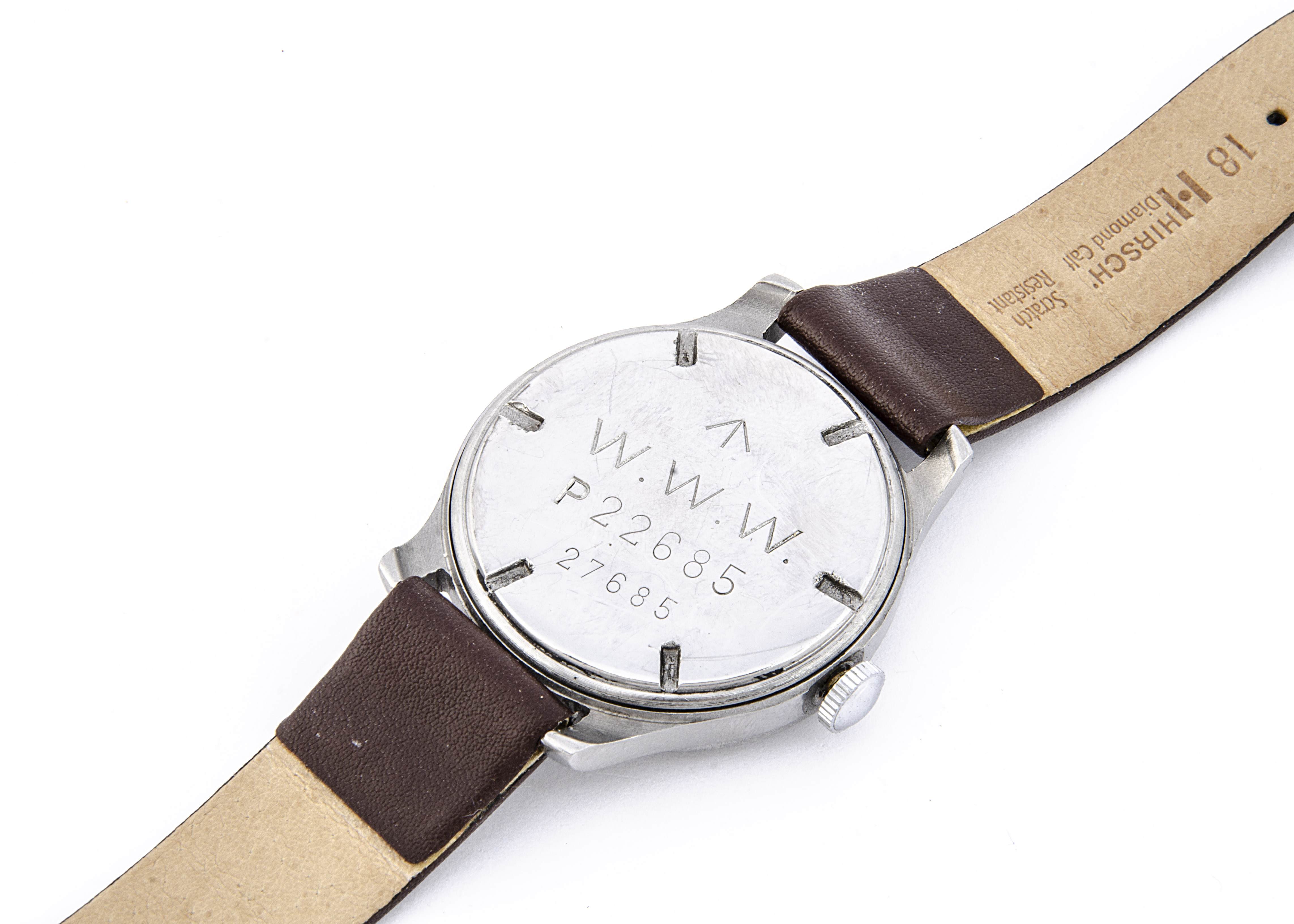 """A c1940s Cyma WWW Military """"Dirty Dozen"""" stainless steel wristwatch, 37mm case, running, black - Image 5 of 7"""