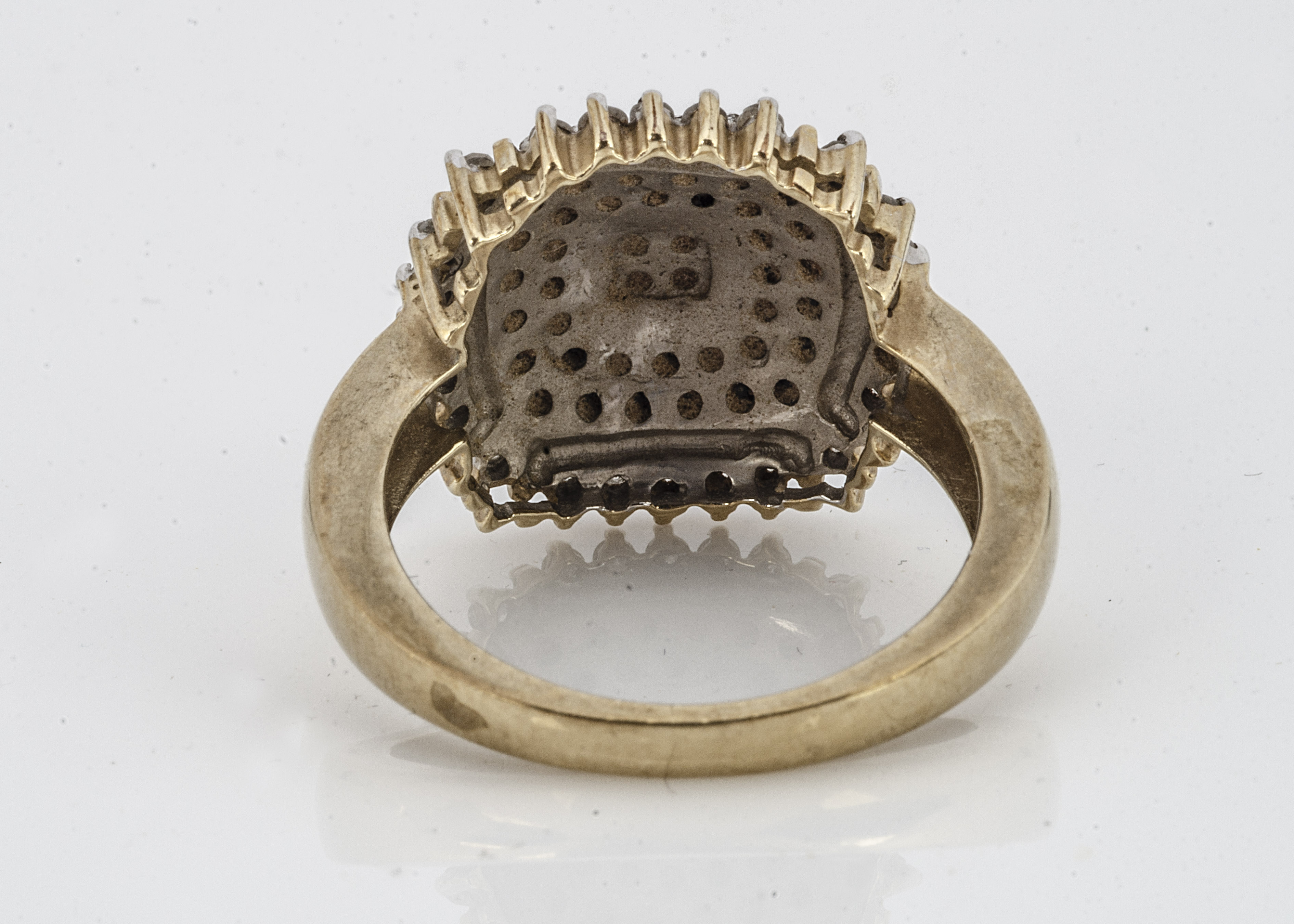 A 9ct gold black and colourless diamond cluster ring, of square tablet form, ring size P, 5g - Image 2 of 2