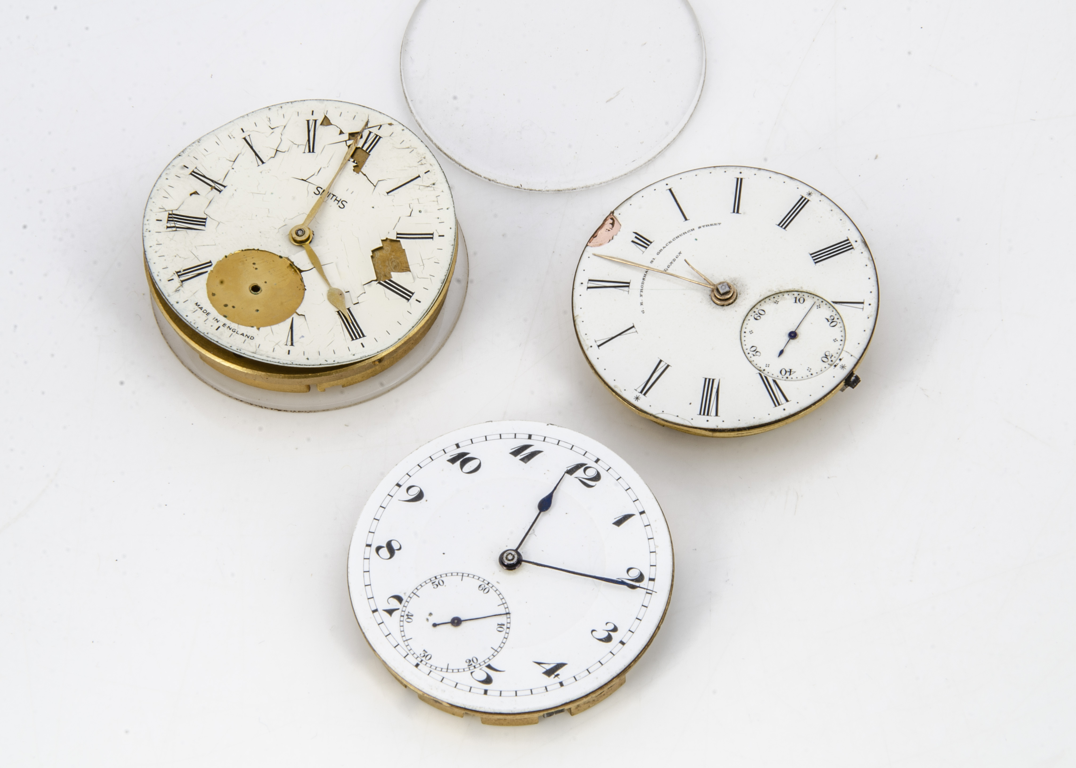 Three pocket watch movements, one by Frodsham, running, dial AF, and two others - Image 2 of 2