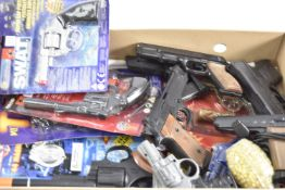 Collection of modern Spy Police and Gangster Toy Guns, Halsall 40407 gold Spy Mission Cap Pistol