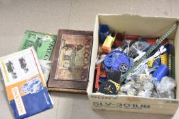 Collection of 1940s and later Meccano, including red, green, blue, yellow and unpainted girders,