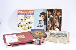 Various Toys including Tin Porters Trolley Jigsaw Meccano Pelham Puppets and other items, modern