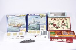 Hornby Minic Ships Sets Meccano Special Edition and Mercator Vessel, Minic Naval Harbour Set and