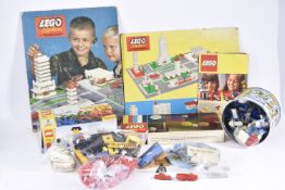 Large quantity of 1960s and later Lego, including Card Town Plan by Samsonite, HO Gauge Mercedes