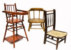 Six children's chairs, a red painted wooden convertible high chair --28in. (71cm.) high; an oak