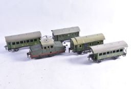 A Marklin 0 gauge clockwork RV890 Locomotive and assorted Continental Rolling Stock, the steeple-cab