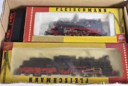 Fleischmann HO Gauge DB black Locomotives, 4064 2-6-2T 064 389-0, 1315 0-8-0 55 2781 Tender