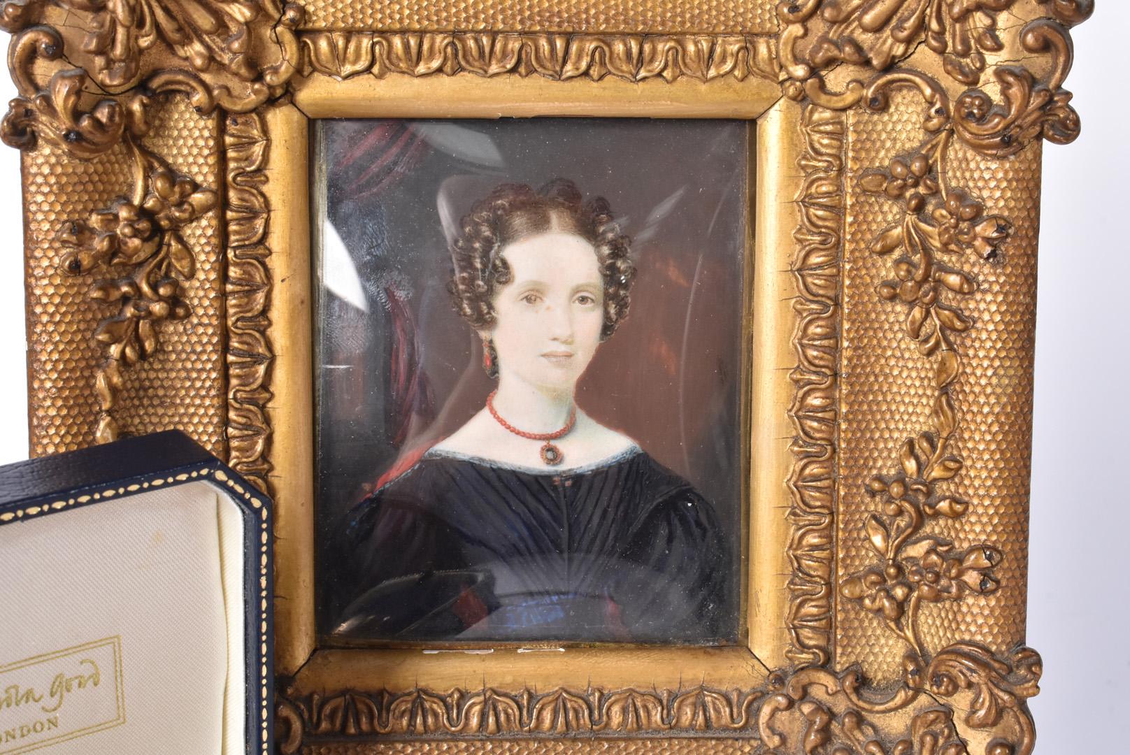 Anna Theresa Stalker (1805-1890), relative of Major General Foster Stalker, hand painted portrait on - Image 2 of 3