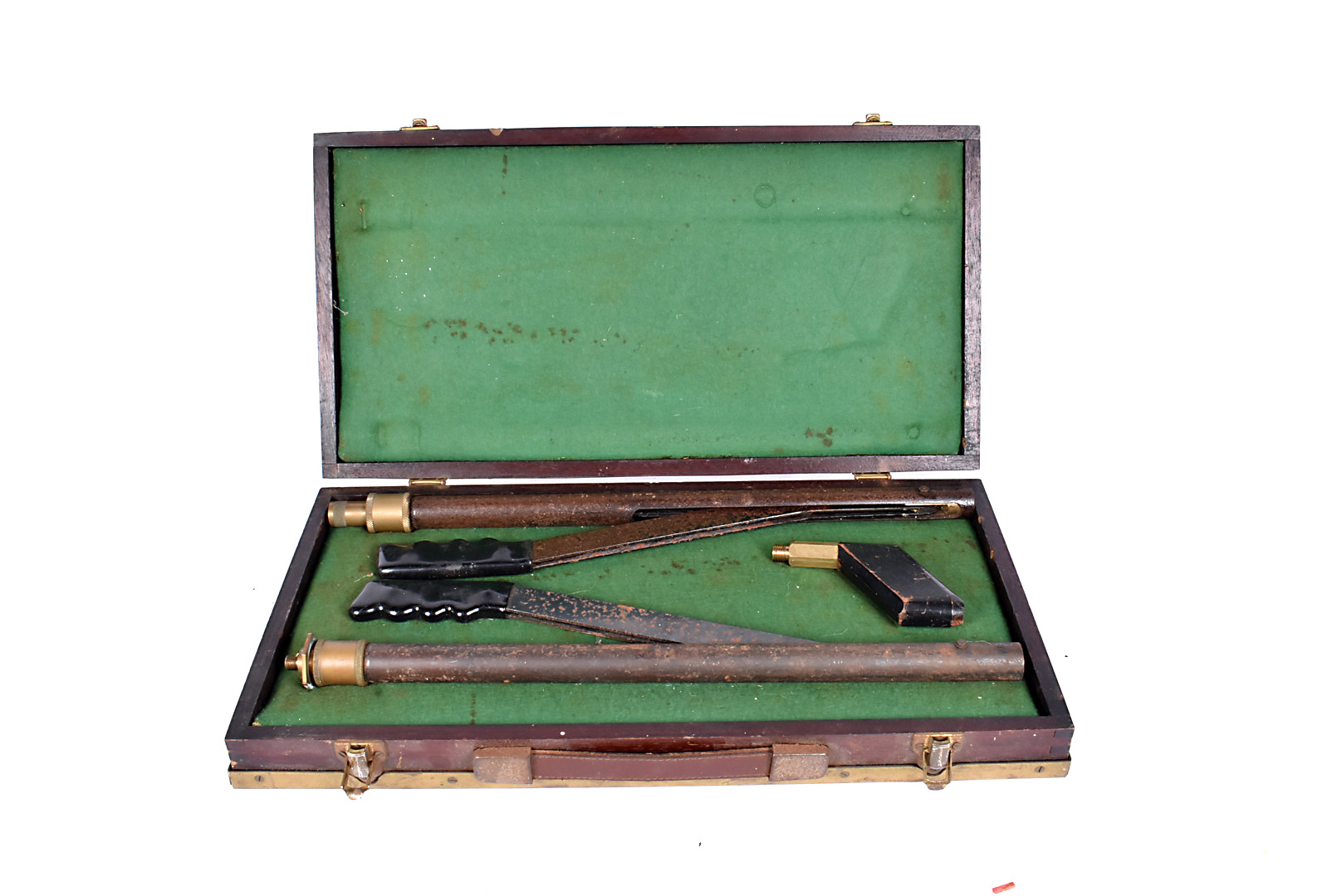 Two Brocock air pumps, in wooden case with brass edging, plus another attachment