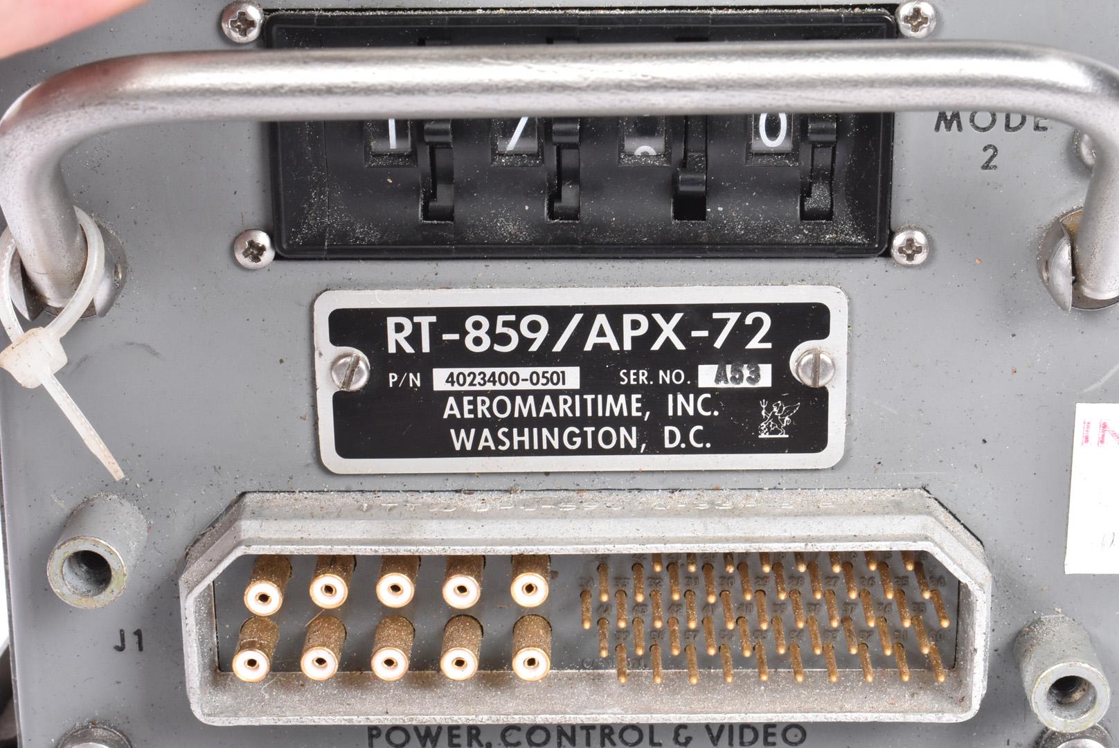 An Aeromaritime Inc of Washington Transponder, marked RT-859/APX-72, having stencilled - Image 2 of 5