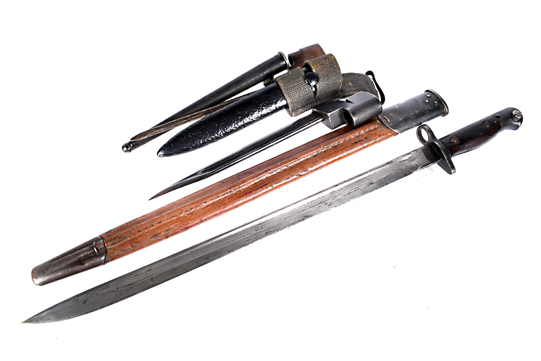 A WWII Naval marked SMLE bayonet and scabbard, dated 1944, by Anderson, together with a No.9 MkI