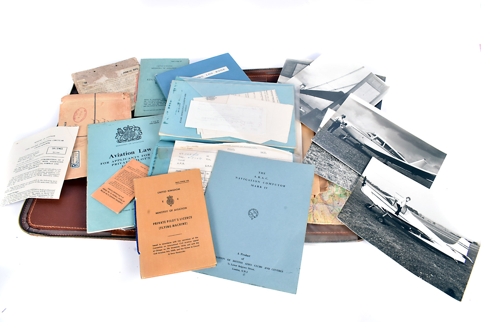 A Female's Private Pilot Licence and Log book, dated to the 1970s, the documents for Private