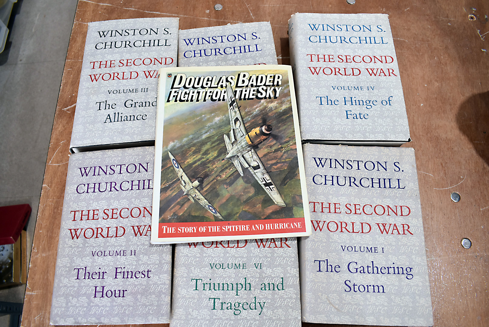Six volumes of Winston S Churchill The Second World War, together with Douglas Bader 'Fight For