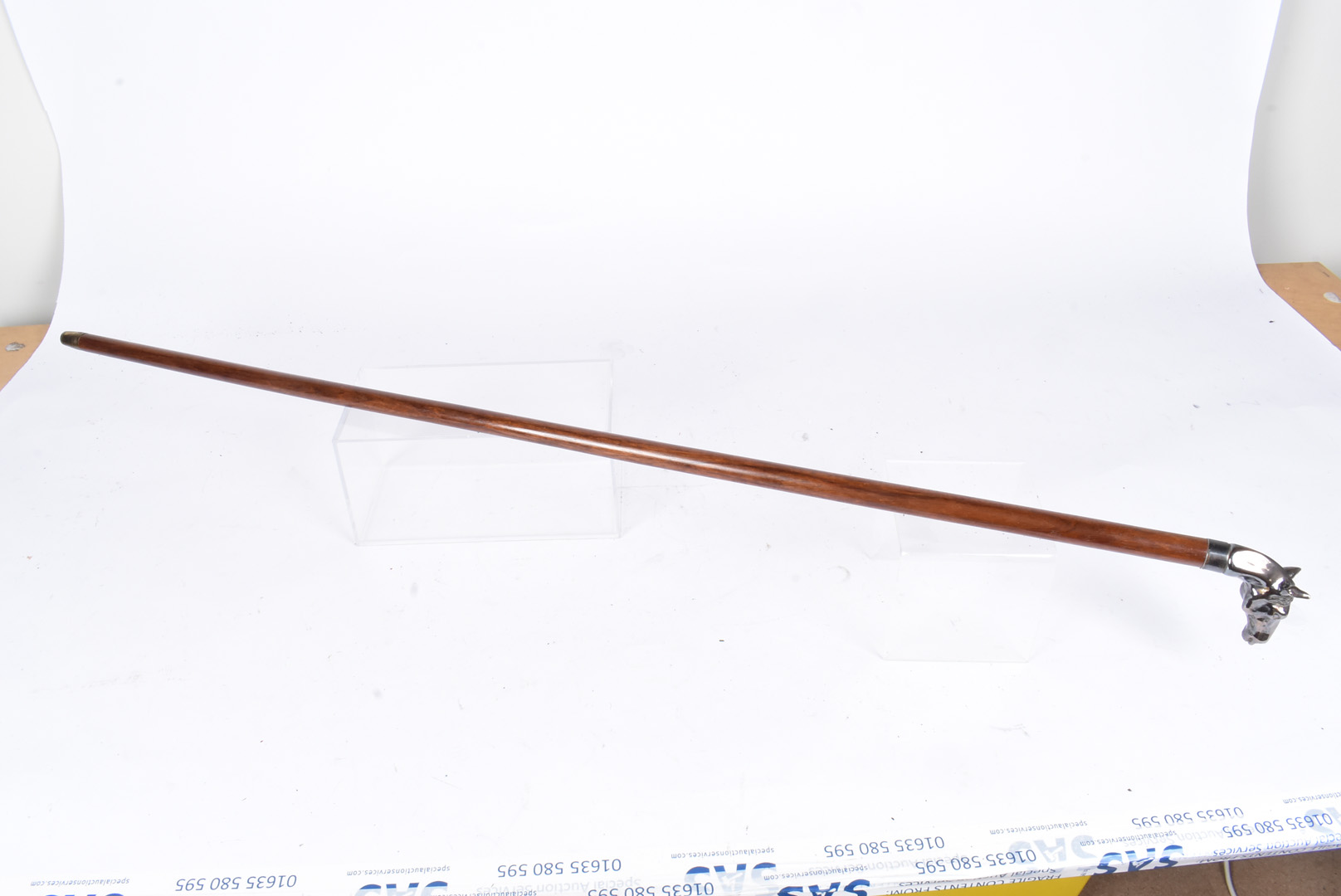 A silver plated horse head walking stick, the top in the form of a horse's head, leading down to - Image 4 of 4