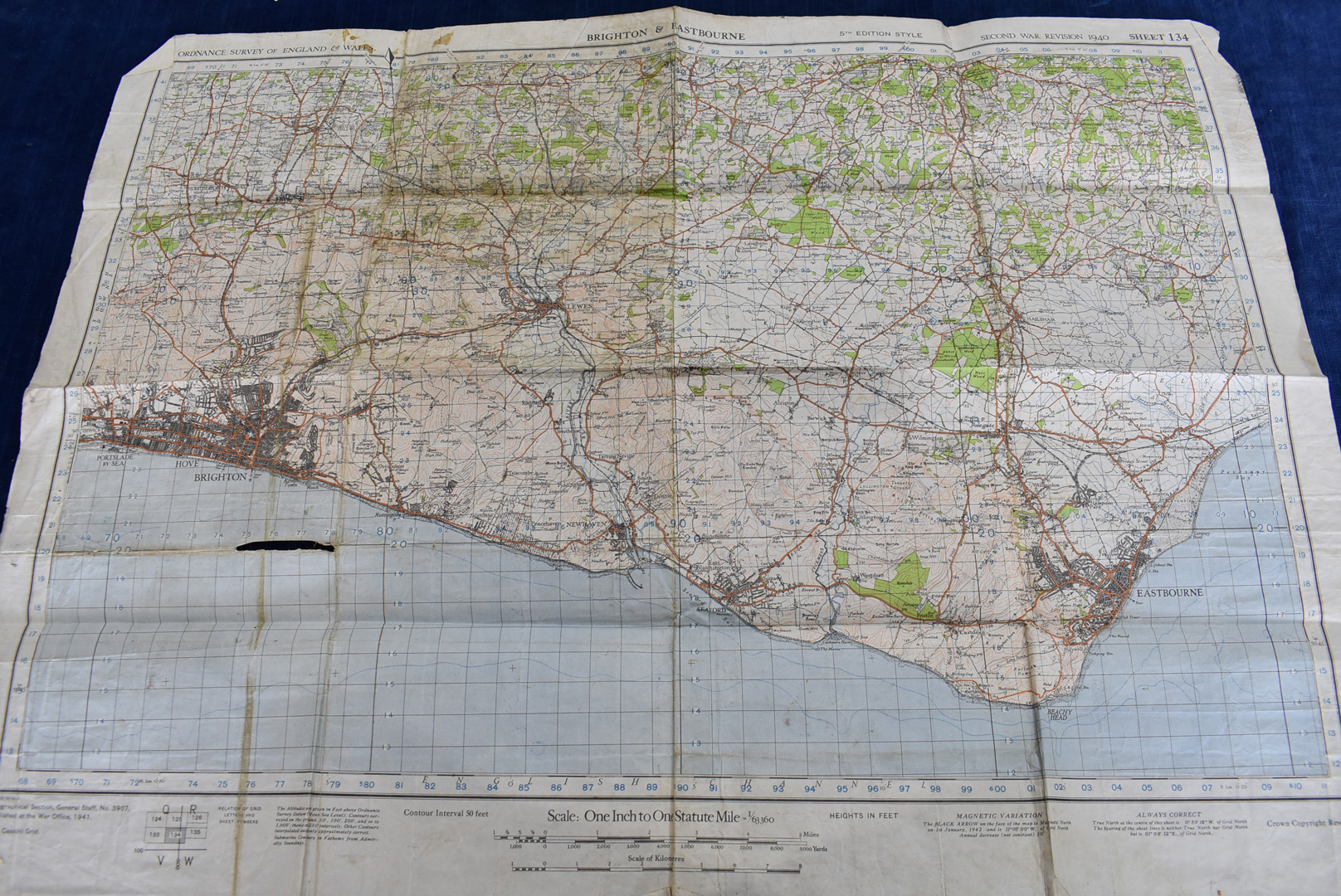 A group of five WWII Ordnance Survey maps, Second War Revision 1940 5th Edition, to include, - Image 2 of 6