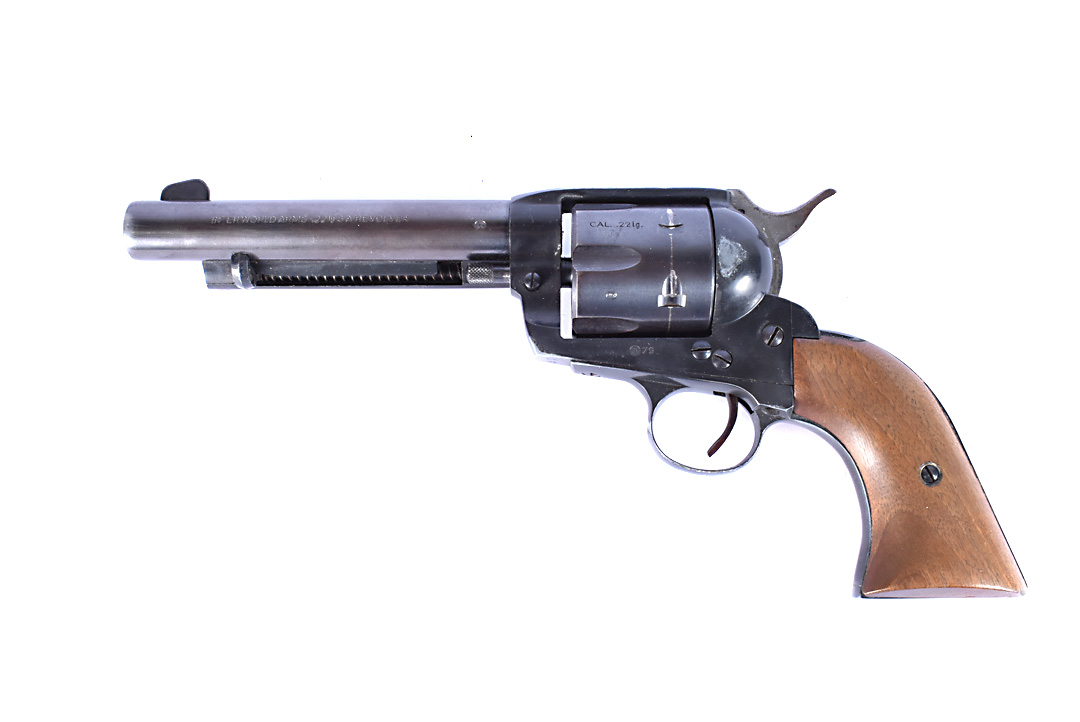A West German Inter World Arms Western Single Action Blank Firing Revolver, .22 calibre, the metal