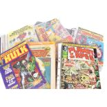 A large collection of 1970s and later comics and magazines, including The Super-Heroes, Tomahawk,