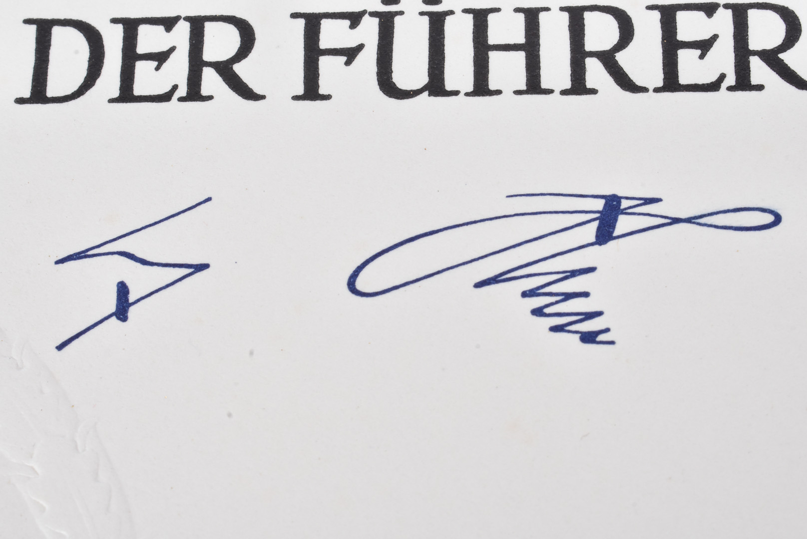 A reproduction Citation, having Third Reich blind stamp and signature, together with a small - Image 5 of 6